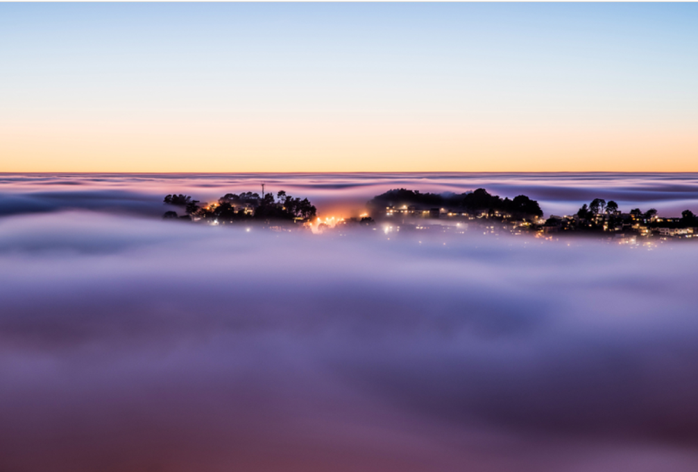 fog during sunrise in the Bay Area